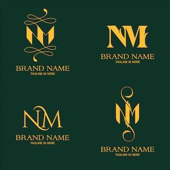Шаблон логотипа элегантное письмо н.м.