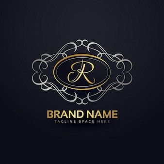 Elegant letter r logo in floral style
