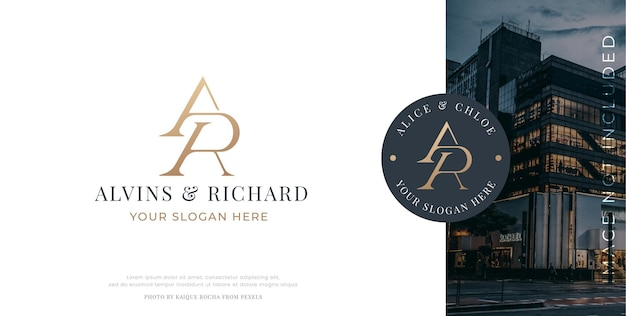 Elegant letter a r monogram serif logo design