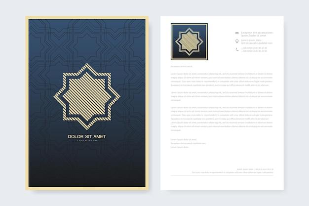 Elegant letterhead template design in minimalist style with logo. golden luxury business design for cover, banner, invitation, letterhead, branding card, brochure. arabic vector logo design template