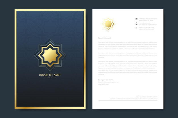 Elegant letterhead template design in minimalist style with logo.