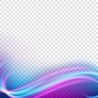 Elegant light frame, wavy neon light, isolated on transparent