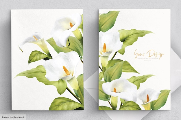 Elegant lily wedding card set