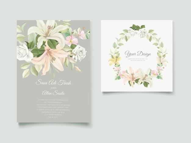 エレガントなユリの結婚式の招待カードセット