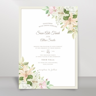Elegant lily wedding invitation card set