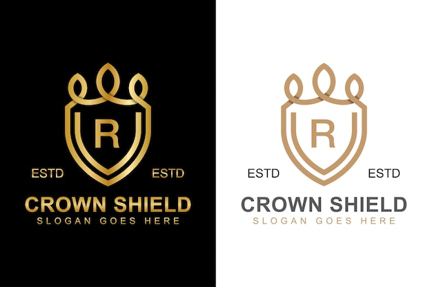 Elegant line art crown and shield logo with initial letter r logo design two versions