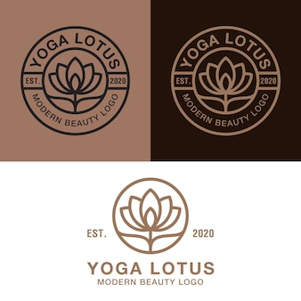 Elegant line art yoga lotus logo, flower, floral, beauty skin, spa, cosmetics logo badge