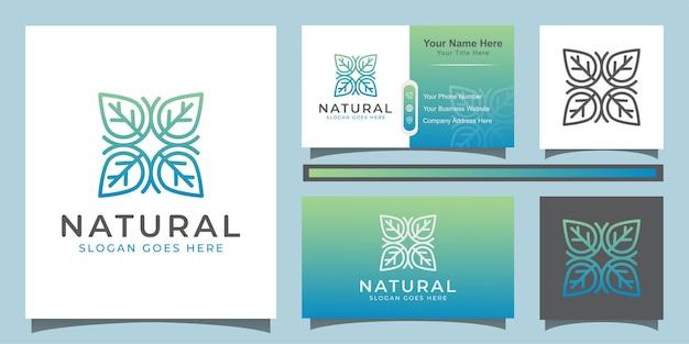 Элегантный линейный лист натурального органического цветочного логотипа дизайн значка для бутика и визитной карточки