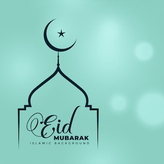 Elegant line mosque and moon design for eid mubarak
