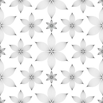 白い背景の上のエレガントな線形花のシームレスなパターン