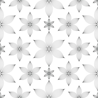 Elegant linear floral seamless pattern over white background