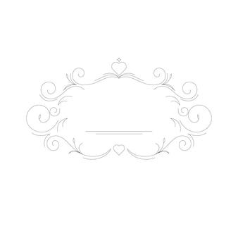 Elegant linear frame, modern monogram template. mockup for printing wedding cards and invitations. vector illustration.