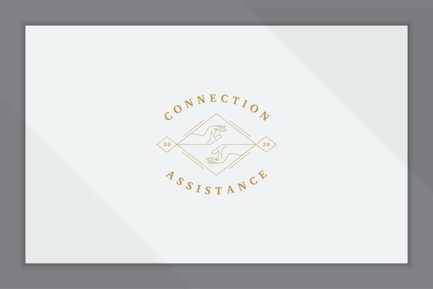 Элегантный линейный логотип с человеческими руками, тянущимися друг к другу в ромбе