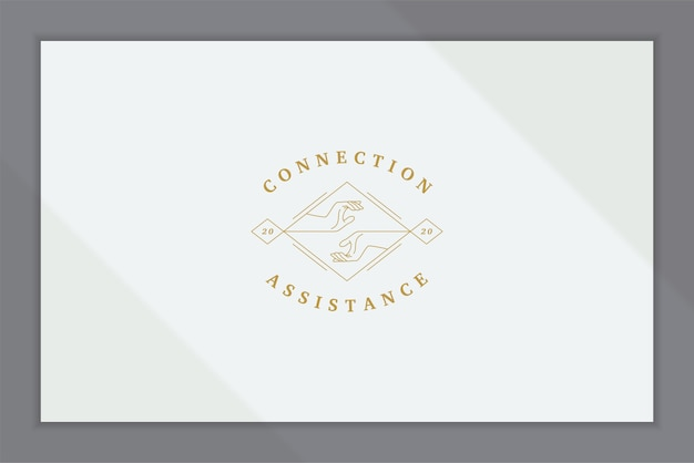 Elegant linear logo with human hands reaching each other in rhombus