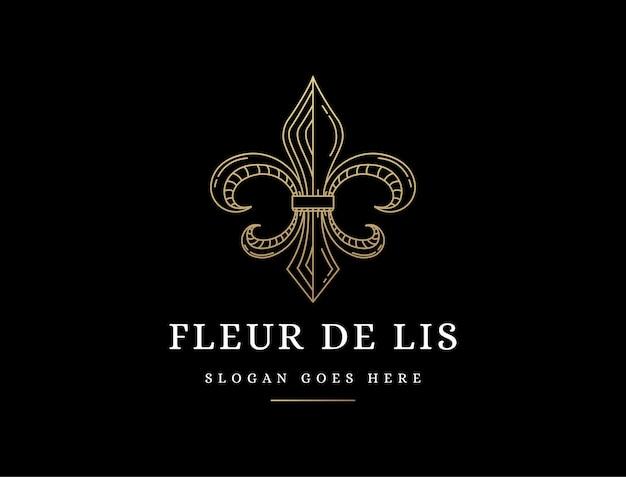 Elegant lineart fleur de lis logo