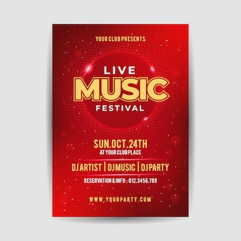 エレガントなライブミュージックパーティーフェスティバルのチラシポスター