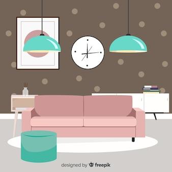 Elegant living room interior with flat design