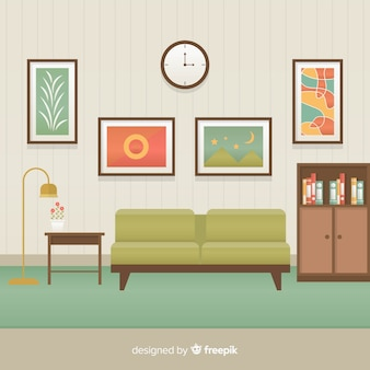 Elegant living room interior with flat design