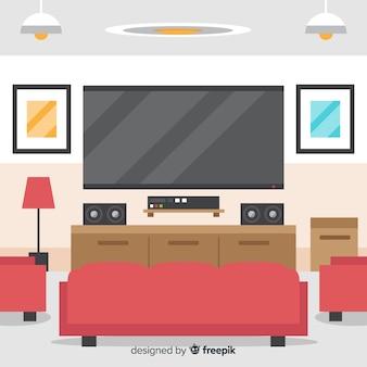 Элегантный интерьер гостиной с плоским дизайном