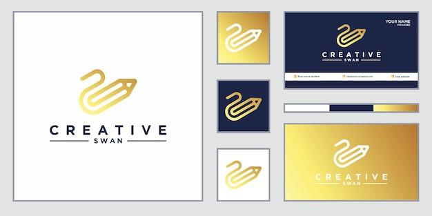 エレガントなロゴ。白鳥と鉛筆の組み合わせ。ロゴのデザインと名刺。