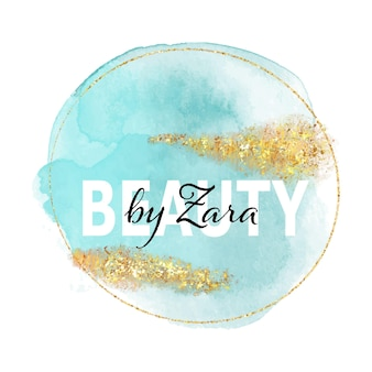 Elegant logo for beauty salon with handpainted watercolour design with glittery gold elements