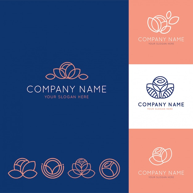 Elegant logo for blue and pink flower business