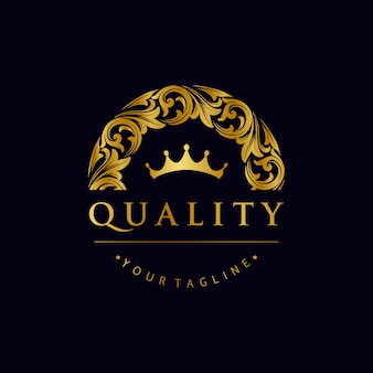 Elegant logo gold ornaments with crown