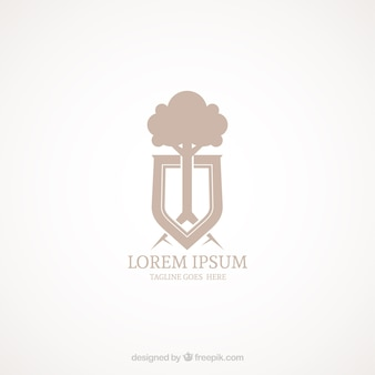 Elegant logotype of a shield with a tree