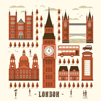 Elegant london attractions collection in flat style