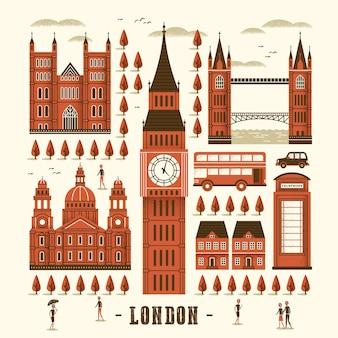 Элегантная коллекция достопримечательностей лондона в плоском стиле