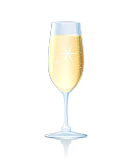 Элегантный бокал игристого охлажденного шампанского на длинной ножке на светоотражающей поверхности для романтической свадьбы.