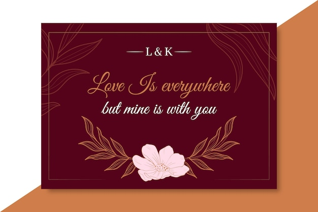 Elegant love card template with flower