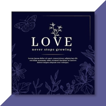 Elegant love card template with flowers