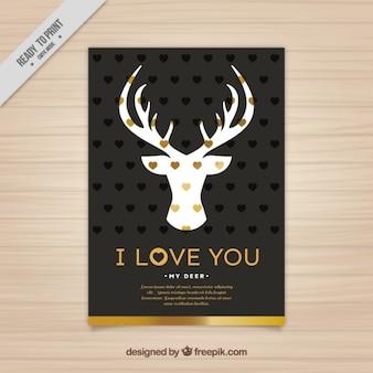 Elegant love card with deer silhouette
