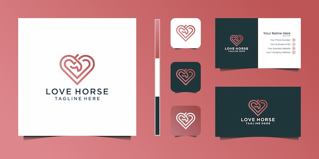 Elegant love horse with stylish graphic design and name card inspiration luxury design logo