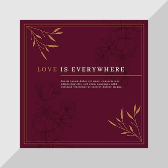 Elegant love square card template with flowers