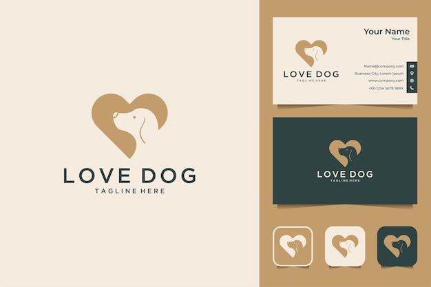 Elegant love with dog logo design and business card