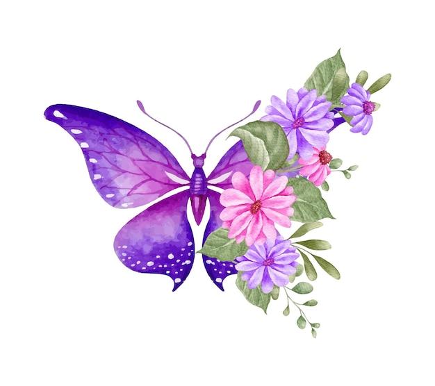 蝶とエレガントな素敵な花の装飾品の装飾