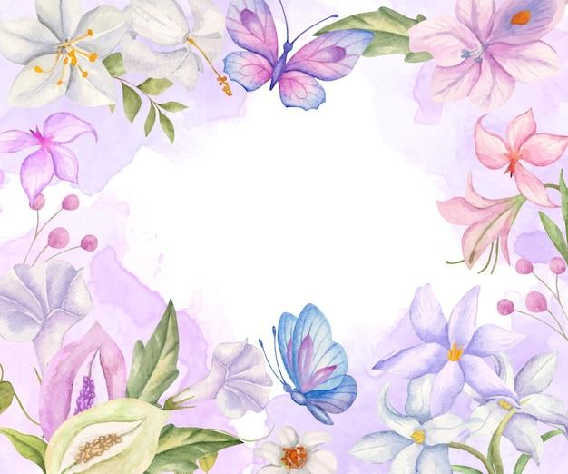 보라색과 파란색 나비와 우아한 사랑스러운 수채화 꽃 배경