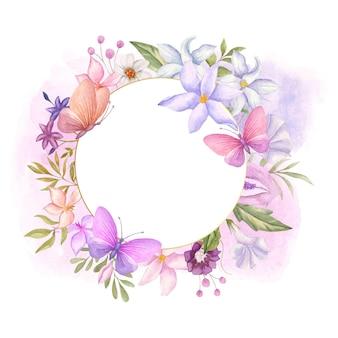 美しい蝶とエレガントな素敵な水彩花フレーム
