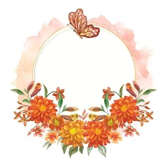 아름다운 나비와 함께 우아한 사랑스러운 수채화 꽃 프레임