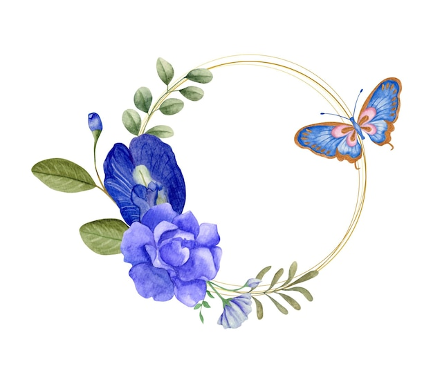 나비와 함께 우아한 사랑스러운 수채화 꽃 프레임