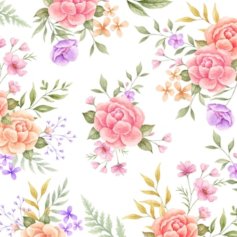エレガントな素敵な水彩花のシームレスなパターン