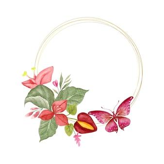 エレガントな素敵な水彩画の春の花のフレーム
