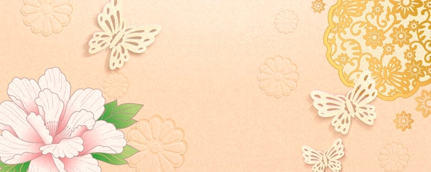Elegant lunar year banner design with peony and butterflies decoration