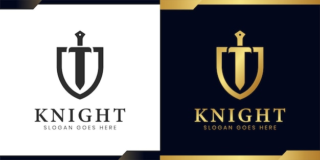 Elegant and luxury armor shield and ancient sword logo design two versions