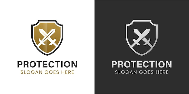 Elegant and luxury armor shield and sword logo design two versions
