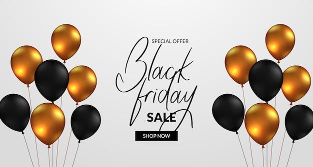 Элегантный роскошный баннер для черной пятницы со скидкой с летающими 3d золотыми и черными шарами