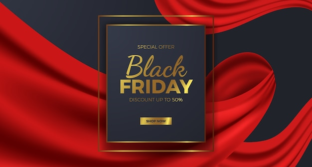 Elegant luxury black friday sale offer banner for fashion with red curtain ribbon and golden text template