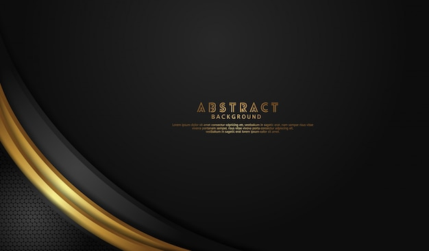 Elegant and luxury black overlap layers background with bright lines gold effect on dark